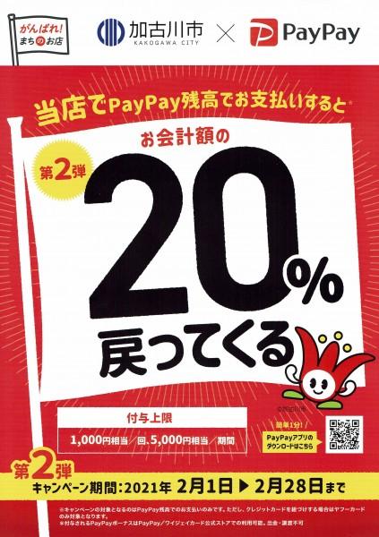 【加古川市】2021年2月 PayPay20%戻ってくる