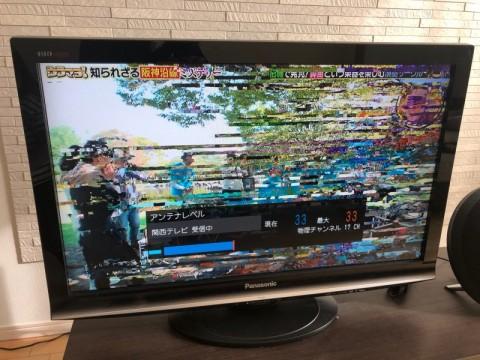 テレビにモザイクが入る