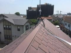 屋根上での工事中